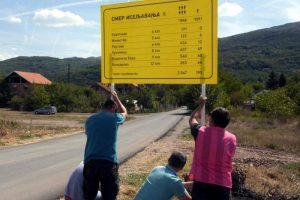 Tabla koja pokazuje smer iseljavanja iz sela